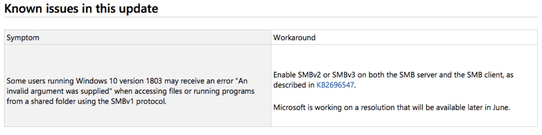 Microsoft known issue Windows 10 version 1803